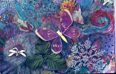 Two Butterflies And A Snow Flake Print by Anne-Elizabeth Whiteway