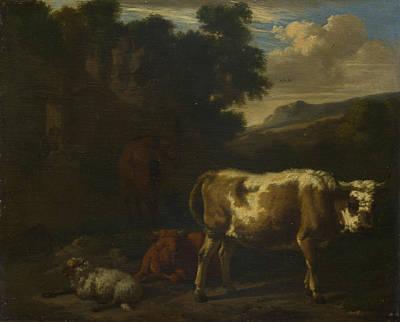 Digital Art - Two Calves A Sheep And A Dun Horse By A Ruin by Dirck van den Bergen