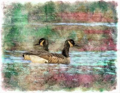 Digital Art - Two Canada Geese by Rusty R Smith