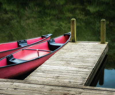Photograph - Two Canoes 5x6 by James Barber