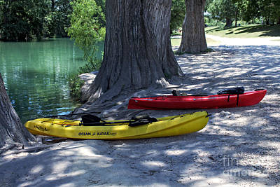 Medina Lake Photograph - Two Canoes At Medina River by Ella Kaye Dickey