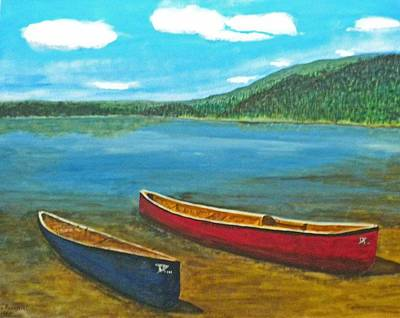 Painting - Two Canoes by Donald Paczynski