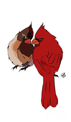 Digital Art - Two Cardinals In Love by Rachel Barrett