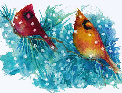 Two Cardinals Art Print by Peggy Wilson