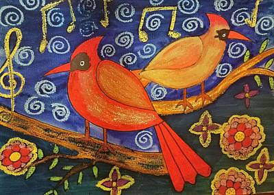 Painting - Two Cardinals by Vijay Sharon Govender