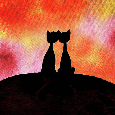 Painting - Two Cats And Sunset Silhouette by Irina Sztukowski