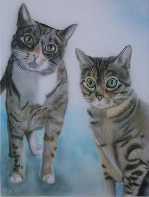 Painting - Two Cats by Bas Hollander