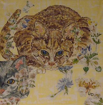 Mixed Media - Two Cats by Georgia Donovan