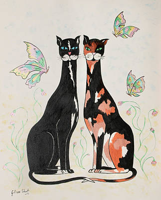 Moggy Painting - Two Cats by Gillian Short