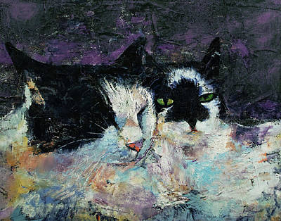 Black And White Cat Painting - Two Cats by Michael Creese
