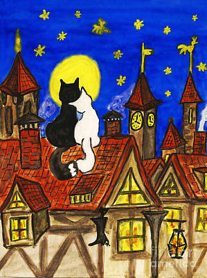 Painting - Two Cats On The Roof by Irina Afonskaya
