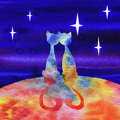 Painting - Two Cats Starry Night Silhouette by Irina Sztukowski