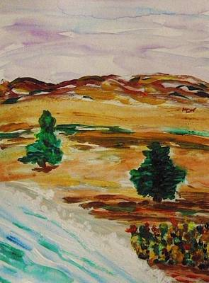 Painting - Two Cedars By The Sea by Mary Carol Williams