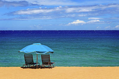 Photograph - Two Chairs And An Umbrella by James Eddy
