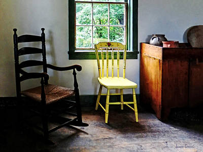 Ladder Back Chairs Photograph - Two Chairs In Kitchen by Susan Savad