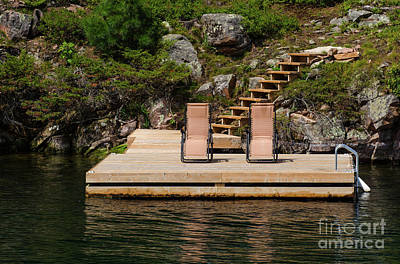 Photograph - Two Chairs On The Dock by Les Palenik