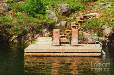 Digital Art - Two Chairs On The Dock  Painterly by Les Palenik