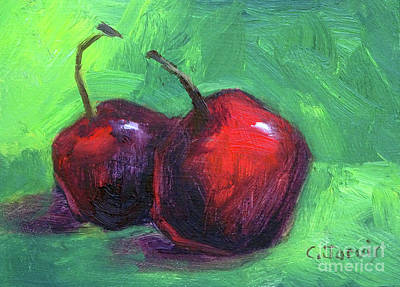Painting - Two Cherries by Carolyn Jarvis