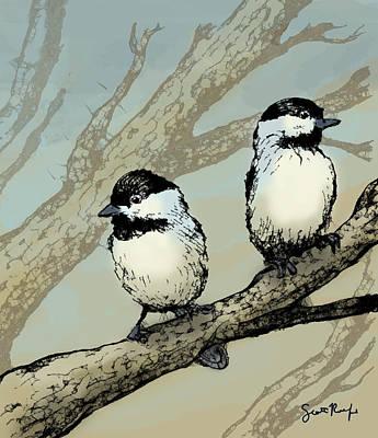 Chickadee Digital Art - Two Chickadees In A Tree by Scott Rolfe