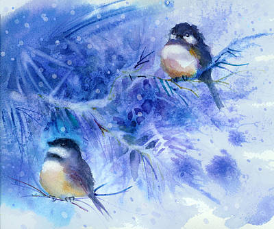 Chickadee Mixed Media - Two Chickadees In Snow by Peggy Wilson