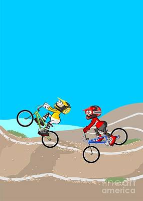 Two Children Competing With Their Bikes Original