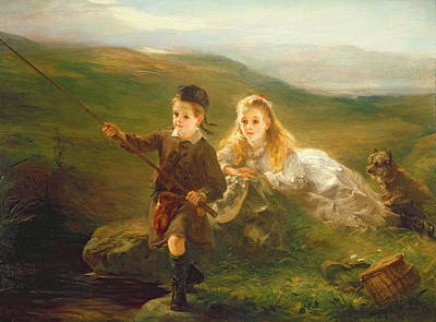 Anglers Painting - Two Children Fishing In Scotland   by Otto Leyde