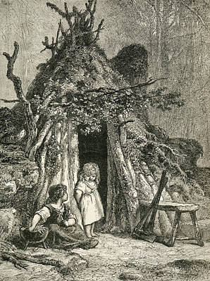 Primitive Drawing - Two Children Outside A Woodman S Cabin by Vintage Design Pics