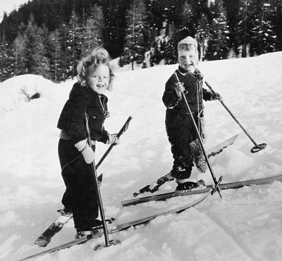 Ski Photograph - Two Children Skiing by Underwood Archives