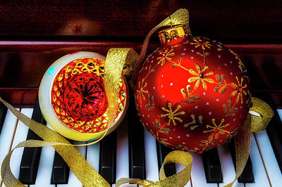 Photograph - Two Christmas Ornaments On Piano by Garry Gay