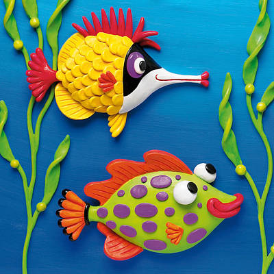 Sculpture - Two Clay Art Tropical Fish by Amy Vangsgard