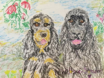 Cocker Spaniel Drawing - Two Cockers by N Willson-Strader