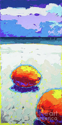 Wall Art - Painting - Two Coconuts On The Beach by Anatoli Titarenko
