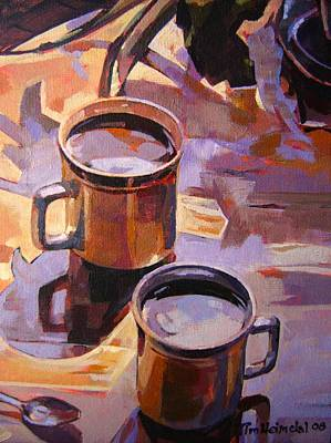 Art Print featuring the painting Two Coffees Take 2 by Tim  Heimdal