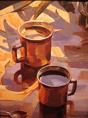 Art Print featuring the painting Two Coffees by Tim  Heimdal