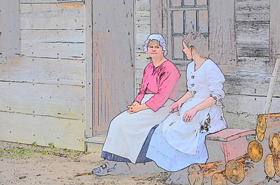 Comic Character Paintings - Two Colonial Women by Robert Nelson
