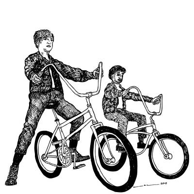 Bike Drawing - Two Cool Riders by Karl Addison