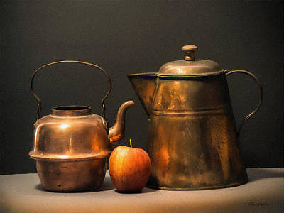 Digital Watercolor Photograph - Two Copper Pots And An Apple by Frank Wilson