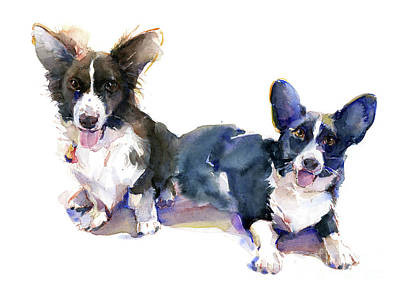 Watercolor Pet Portraits Painting - Two Corgis by John Keeling