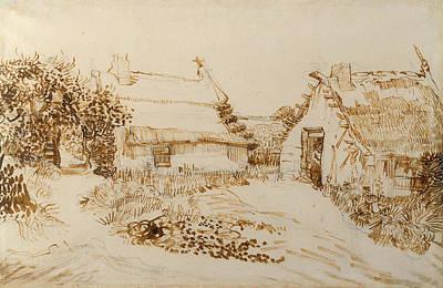 Post Drawing - Two Cottages At Saintes Maries De La Mer by Vincent van Gogh