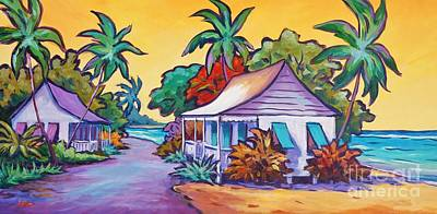 Caribbean Painting - Two Cottages by John Clark