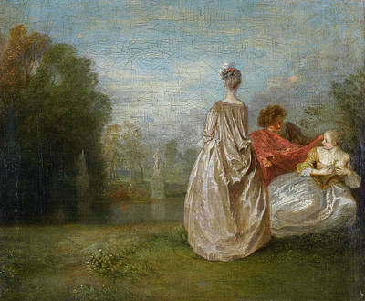 Baroque Painting - Two Cousins by Jean-Antoine Watteau