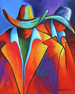 Contemporary Cowgirl Painting - Two Cowboys by Lance Headlee