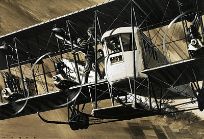 Plane Painting - Two Crewmen Amid The Wires And Struts Of An Ilia Mourometz II Bomber by Wilf Hardy