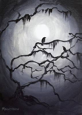 Swamp Thing Painting - Two Crows And Spanish Moss by Melissa Herrin