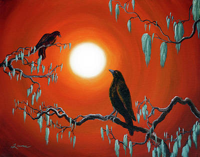 Fantasy Tree Art Painting - Two Crows On Mossy Branches by Laura Iverson