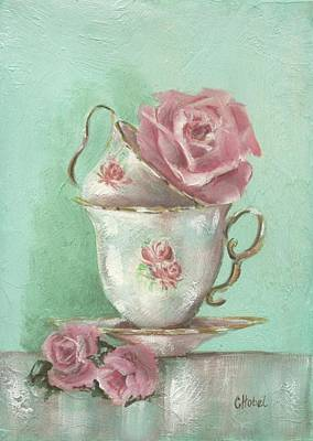 Two Cup Rose Painting Art Print by Chris Hobel