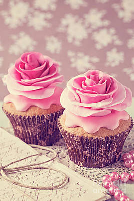 Frosted Cupcakes Digital Art - Two Cupcakes With Rose Flowers by Elena Schweitzer