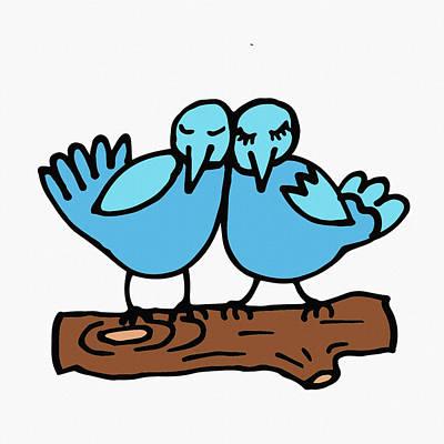Digital Art - Two Cute Love Birds by Irina Sztukowski