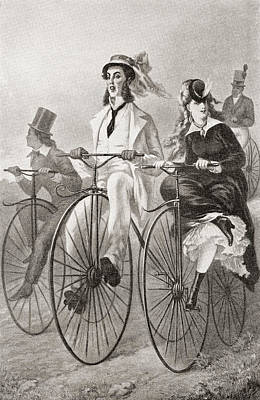 Bike Drawing - Two Cyclists On Penny Farthing Bicycles by Vintage Design Pics