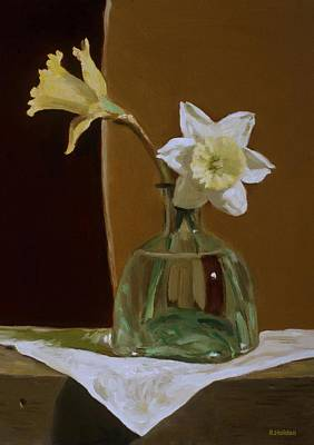 Painting - Two Daffodils In Tequila Bottle by Robert Holden